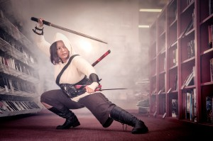 Because why wouldn't you do Assassin's Creed cosplay in a comic store with a smoke machine?