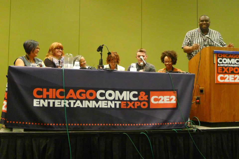 (L-R) Michi Trota, Gail Simone, Mary Anne Mohanraj, Mary Robinette Kowal, Scott Snyder, Karlyn Meyer, Jeff Smith