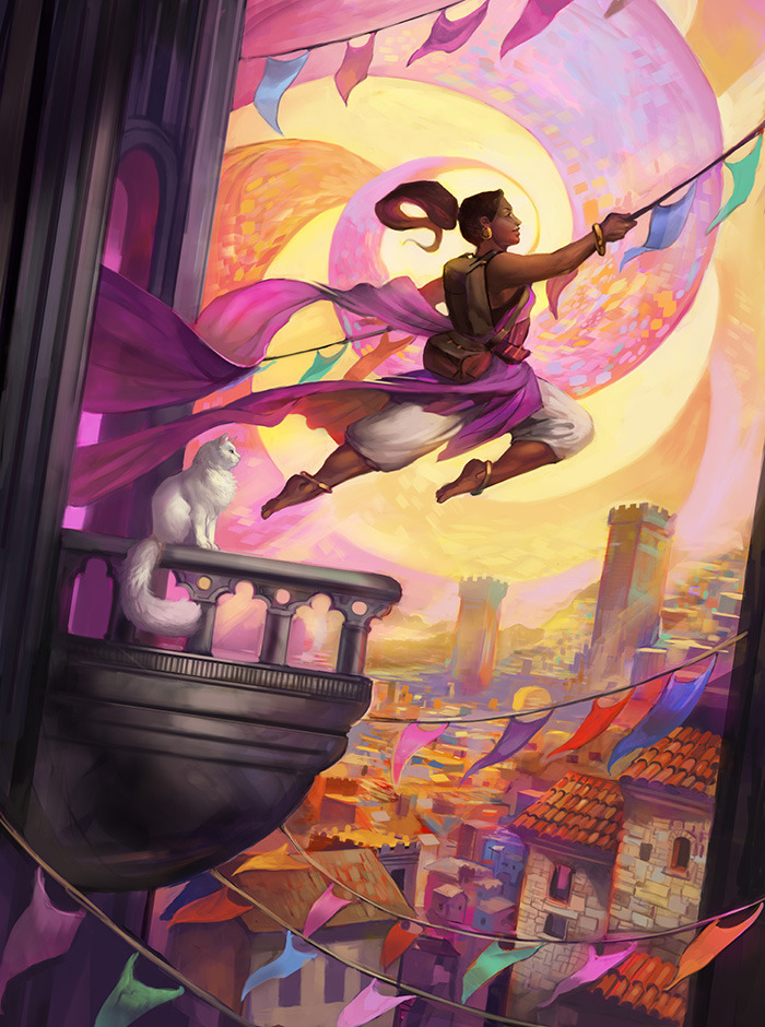 Preview art: Fortune's Favored, by Julie Dillon (Available as postcards and prints for some backers.)