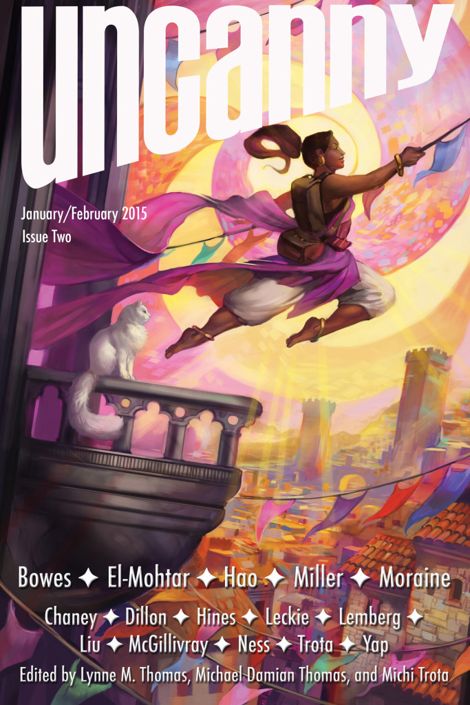 """Fortune's Favored"" by Julie Dillon on the cover of Issue 2."