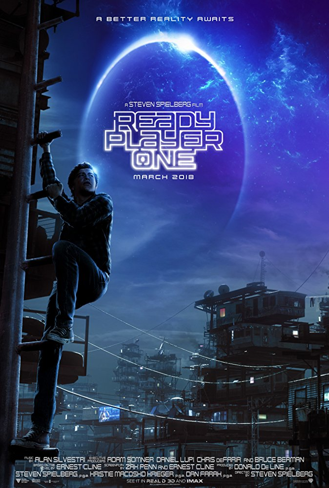 Ready Player One movie poster showing main character climbing the side of a building against a dark sky