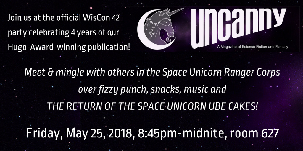 Flyer for Uncanny's Space Unicorn Sparkle Party at WisCon, Friday May 25, 8:45pm-midnight room 627